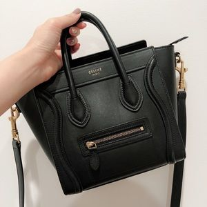 Authentic Celine Luggage Nano Black Smooth Leather